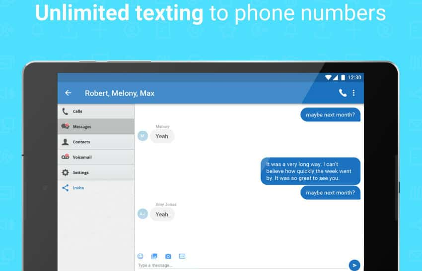 unlimited texting with Talkatone
