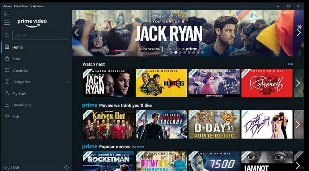 prime video interface