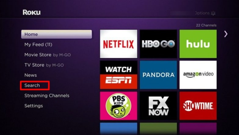 Search on roku