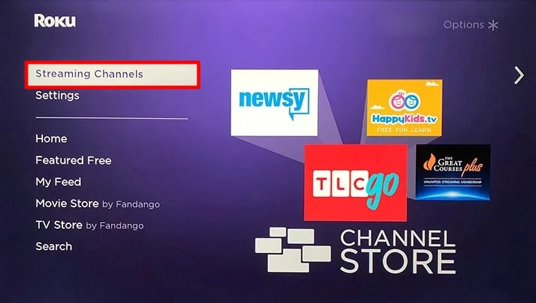 Streaming Channels option.