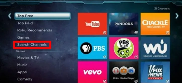 search for 'PlayStation Vue on roku