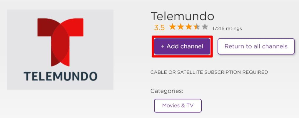 add telemundo channel