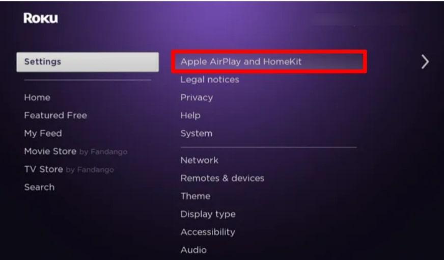 Apple AirPlay and HomeKit on roku settings
