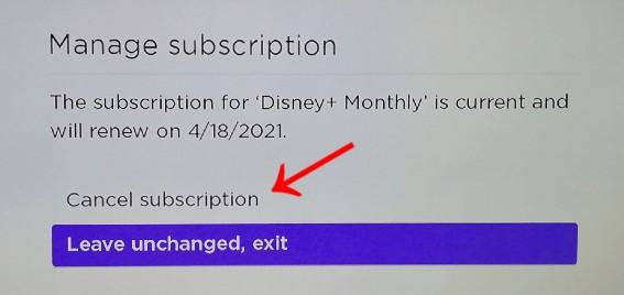 Cancel subscription