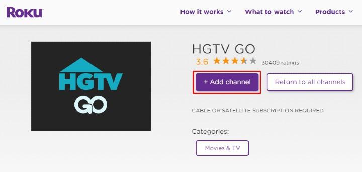 Add HGTV on roku