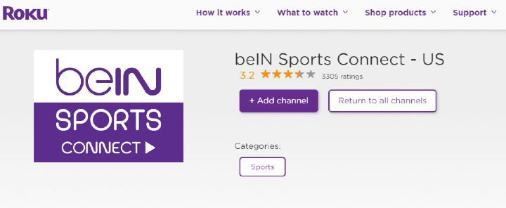Add beIN Sports Connect roku