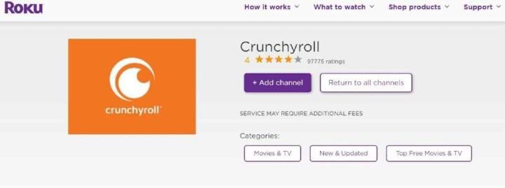 Add crunchyroll Channel roku
