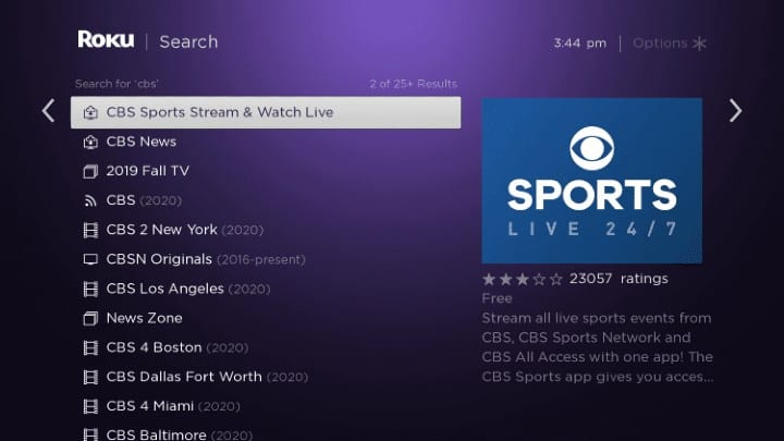 Type CBS Sports in the search bar