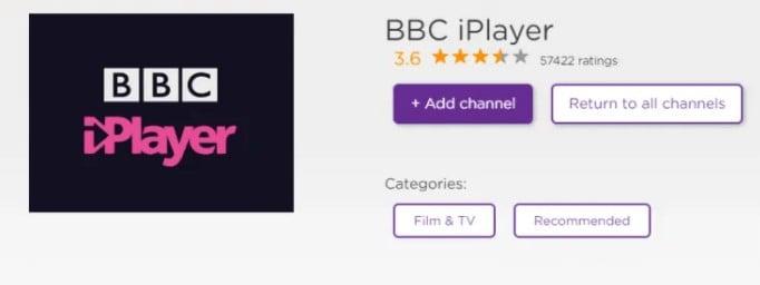 add BBC iPlayer channel on roku