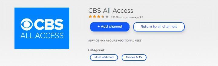 add CBS All Access channel on Roku