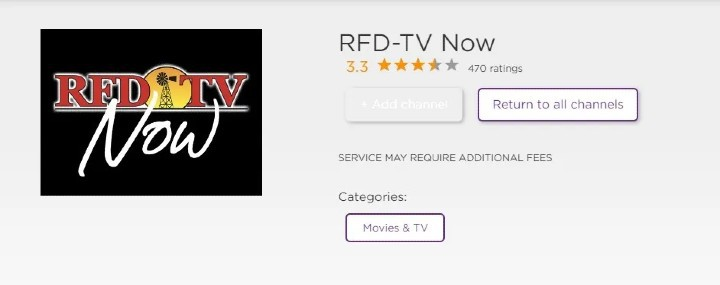add RFD TV now on Roku