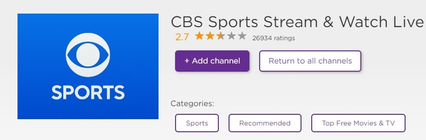add CBS Sports channel on Roku