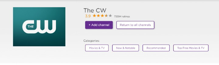 add the CW channel on Roku
