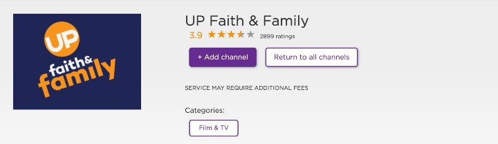 up faith and family movies on Roku