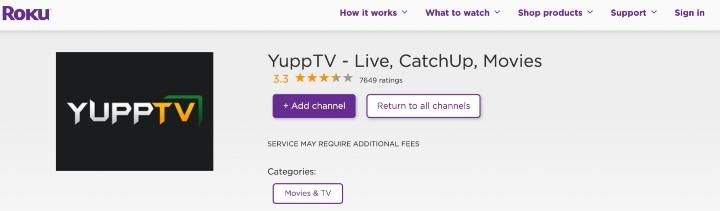 add yupptv channel on roku