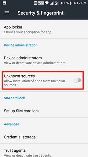 turn on unknown sources android