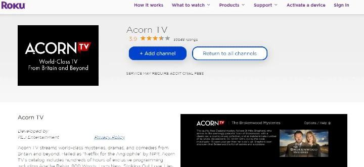 add acorn tv to roku