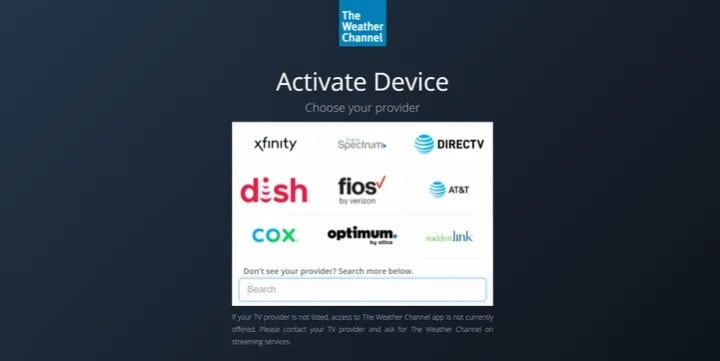 activate weather channel on roku