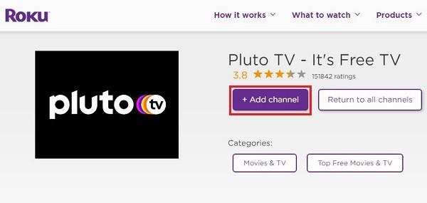 add Pluto TV channel to roku