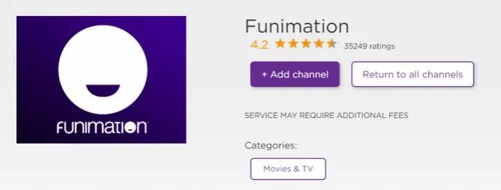 add funimation roku