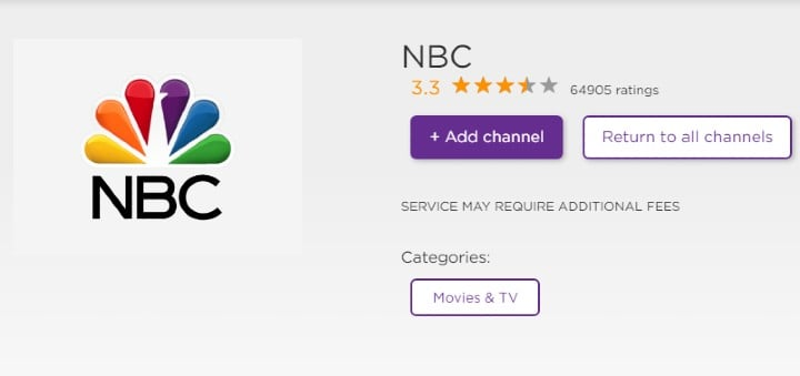 NBC channel on roku