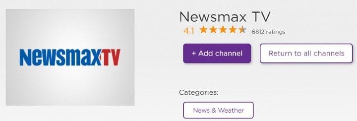add newsmax tv app on roku