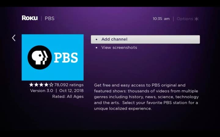 add pbs channel on roku