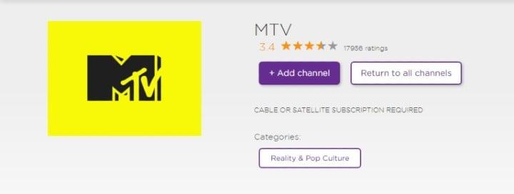 add MTV channel on Roku