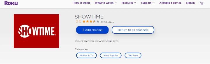 add showtime app on roku