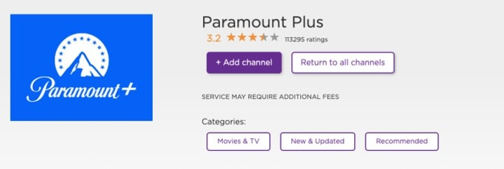 add paramount plus channel on roku