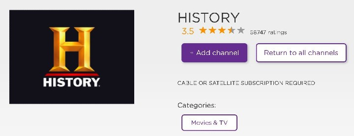 add history channel to roku