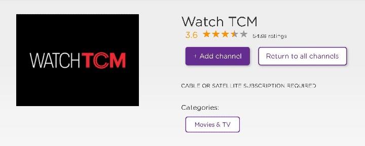 add tcm channel on roku