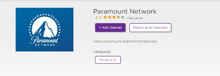add paramount network on roku