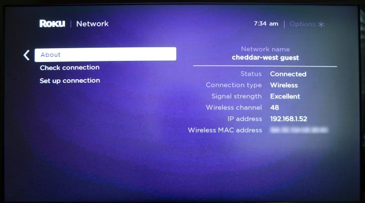 about section in roku